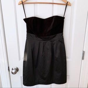 Banana Republic Strapless Black Dress Satin Velvet